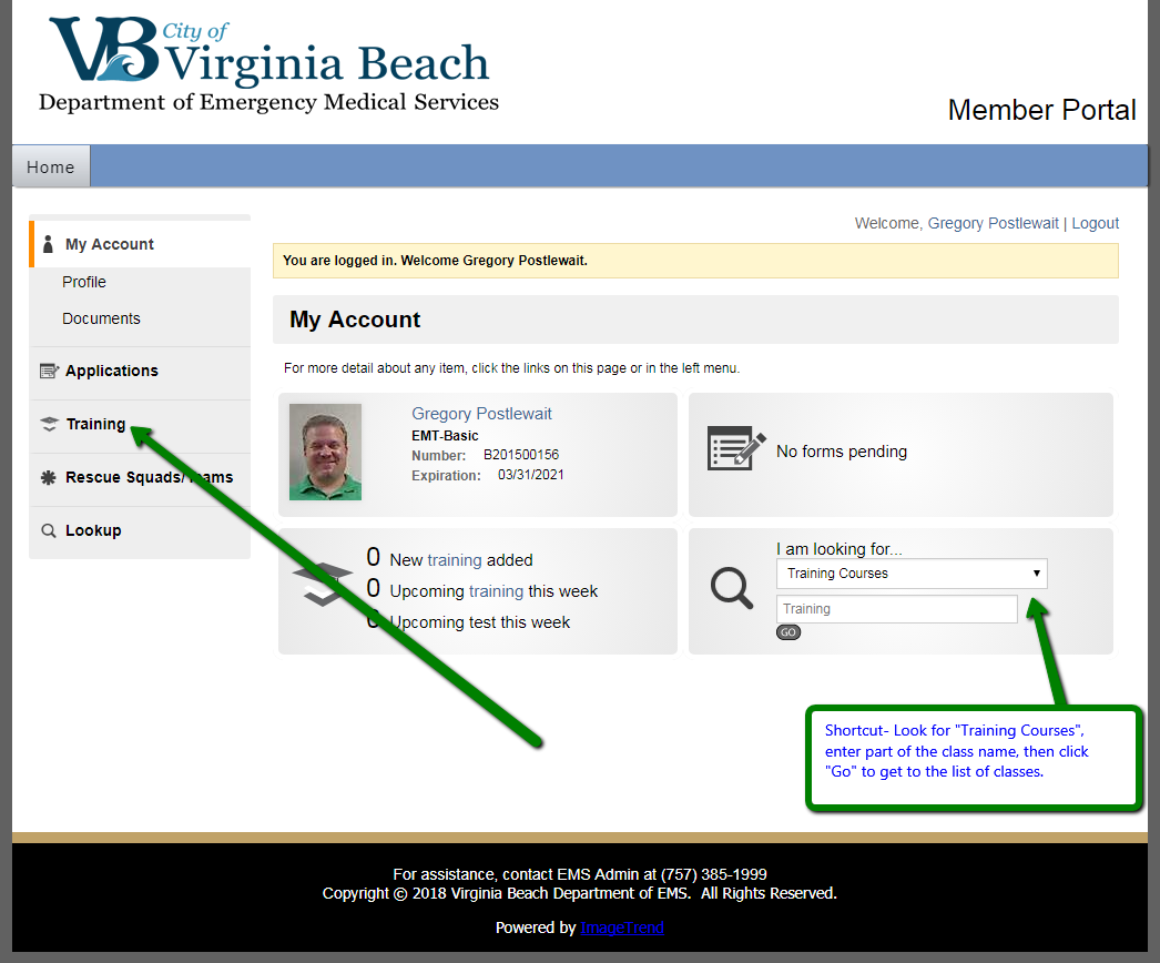 How to sign up for classes in the member portal vbems enter a date andor part of a class name and click the go button to find your desired class and session then click on the desired class start date xflitez Images