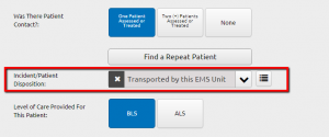 """Patient disposition of """"transported by this EMS unit"""""""